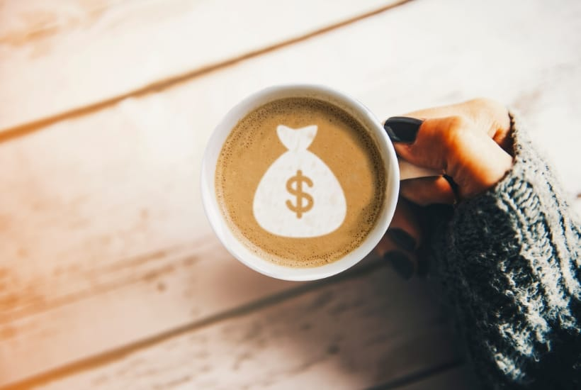 Money bag in a cup coffee ask plan how to make $500 a month in dividends