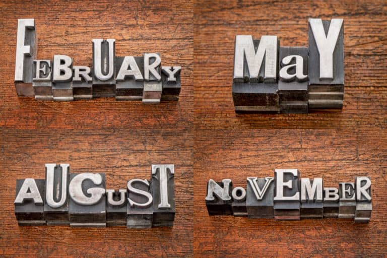 Vintage metal type for months to show stocks that pay dividends in February, May, August, and November