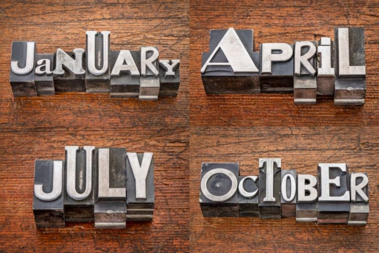 Vintage metal type for months to show stocks that pay dividends in January, April, July, and October