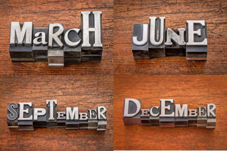 Vintage metal type for months to show stocks that pay dividends in March, June, September, and December